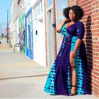 dress purple teal tie dye plus size dress wrap dress