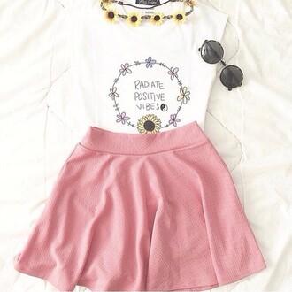 skirt skater skirt pink skirt top