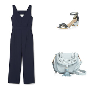 jumpsuit navy navy jumpsuit patent shoes silver silver shoes blue blue bag baby blue crossbody bag summer summer outfits