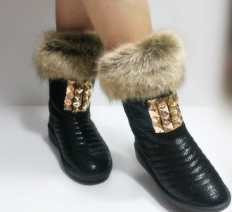 shoes shoes winter boots booties booties shoes studded shoes studs style pyramid studs fur fur boots fur shoes kcyshoes femme chaussures snow boots snow bootie