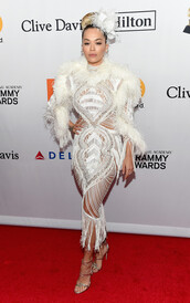 dress,white,white dress,sandals,rita ora,red carpet dress,grammys,shoes