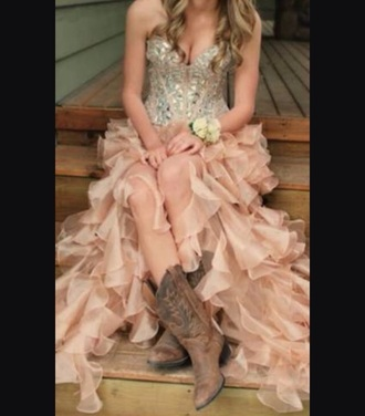 dress sliver strapless top with  peachy c coloured frilled bottom that can be worn with western boits shoes boots western country style cowgirl boots