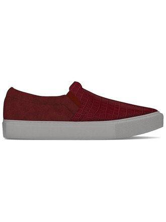 women sneakers leather suede crocodile red shoes