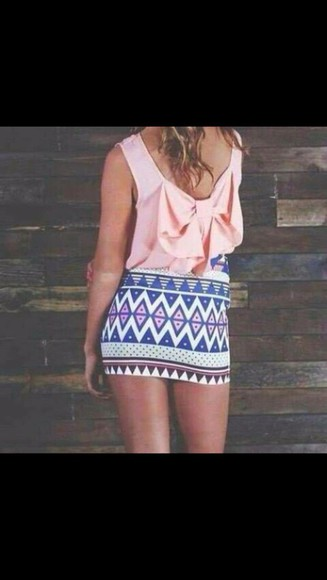 light pink blouse light pink top aztec pencil skirt