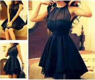 dress black short evening gown beautiful hipster prom high collar tight flowy tight black dress