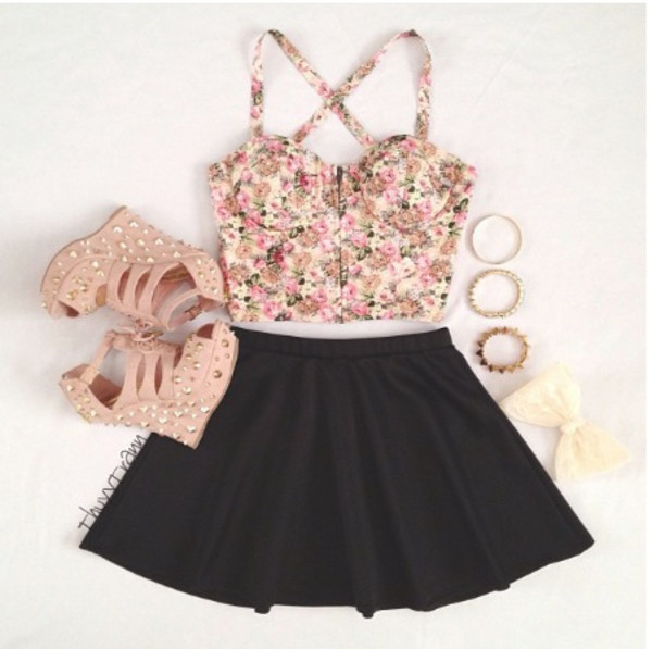 blouse skirt skater skirt floral flowers shoes