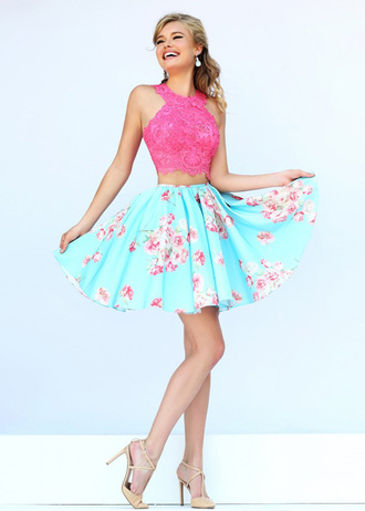 prom dress formal event outfit dress fashuion fashion pretty little liars pink dress pink sunglasses blue dress blouse blue skirt pin up summer dress barbie white dress girly skirt midrif prom homecoming homecoming dress trendy cute cute dress hill 2piece dress two piece dress set lace dress sherri hill floral skirt lace top pink blue