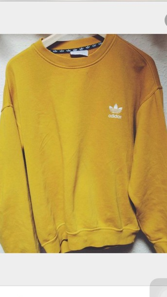 Sweater: adidas, yellow, mustard, oversized, mens sweater, mustard ...