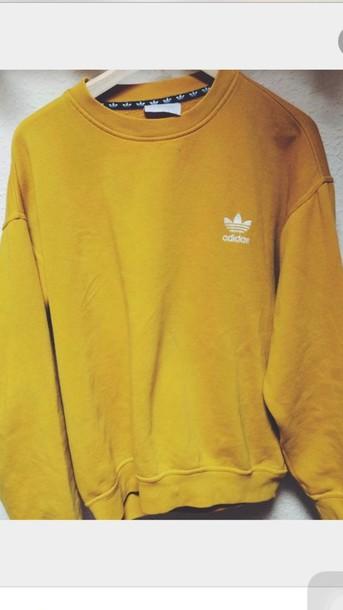 Sweater Adidas Yellow Mustard Oversized Mens Sweater Mustard