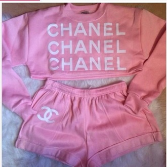 shorts pink shorts cute light chanel sweater crop tops outfit