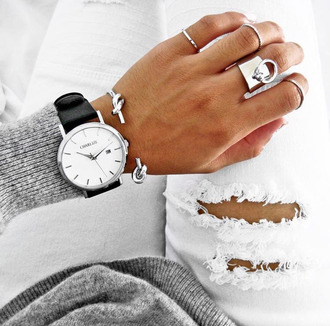 jewels black white minimalist silver silver ring charlize watch grey sweater white ripped jeans silver bracelet daniel wellington minimalist jewelry jeans our favorite accessories 2015