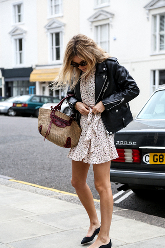dress tumblr wrap dress mini dress floral floral dress shoes black shoes jacket black jacket black leather jacket leather jacket bag sunglasses spring outfits spring dress