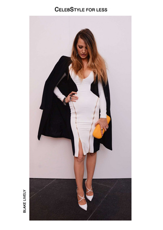 dress blake lively celebstyle for less colorblock black and white dress bodycon dress black coat celebrity style pointed toe white shoes pumps mustard clutch coat shoes bag jewels make-up