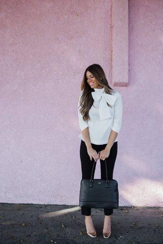 mint arrow blogger blouse pants bag shoes jewels