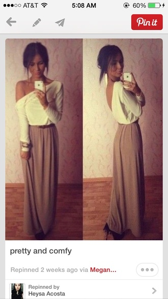 blouse white cute cute sweaters shirt off the shoulder gold belt skirt long girly classy