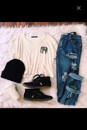 t-shirt,grunge,hipster,aesthetic,tumblr,elephant,ripped jeans,bennie,sneakers,outfit,shirt