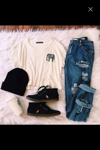 t-shirt grunge hipster aesthetic tumblr elephant ripped jeans bennie sneakers outfit shirt