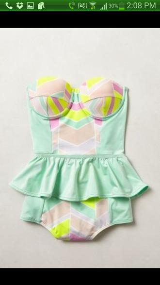 swimwear pastel color one piece swimsuit ruffles