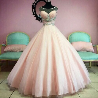 dress pink dress ball gown dress cinderella bling