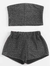 romper,girly,two-piece,matching shorts and top,matching set,crop tops,cropped,crop,shorts,bandeau,bandeau top,glitter,sparkle,grey,short,summer,summer top,summer outfits,summer shorts