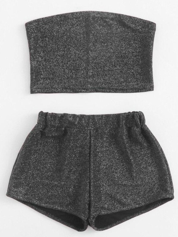 romper girly two-piece matching shorts and top matching set crop tops cropped crop shorts bandeau bandeau top glitter sparkle grey short summer summer top summer outfits summer shorts