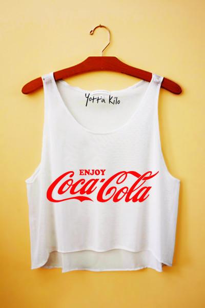 Enjoy coke crop tank top