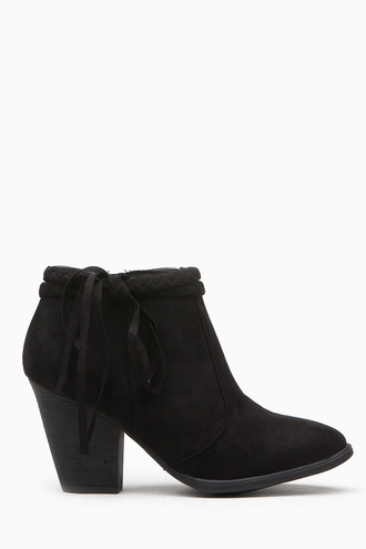 shoes black suede vegan chunky heel bootie boot cicihot tassel