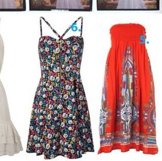dress floral dress bright sundress zipper dress