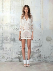 dress,lace dress,lace,summer dress,summer,summer outfits,sheer,see through,white dress,model,cute,sexy,cute dress,shoes,high heels,crochet,mesh,perfect