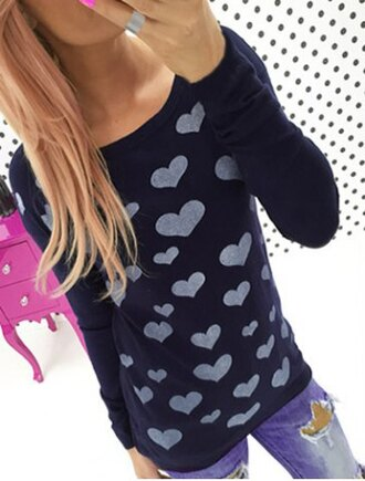 sweater heart black grey jumper casual cute girly trendy long sleeves teenagers clothes fall outfits winter outfits heart sweater