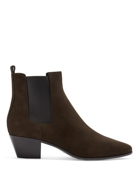 Saint Laurent rock chelsea boots suede khaki shoes