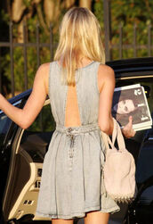 denim,dress,grey dress,blue dress,open back