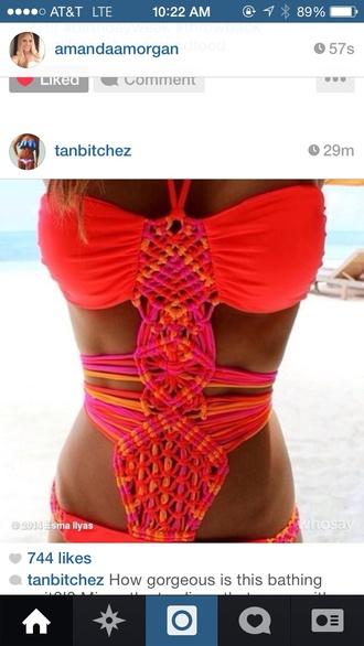 swimwear one piece straps orange yellow knitt