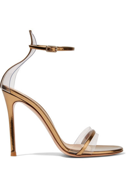 Gianvito Rossi metallic 100 sandals leather sandals gold leather shoes