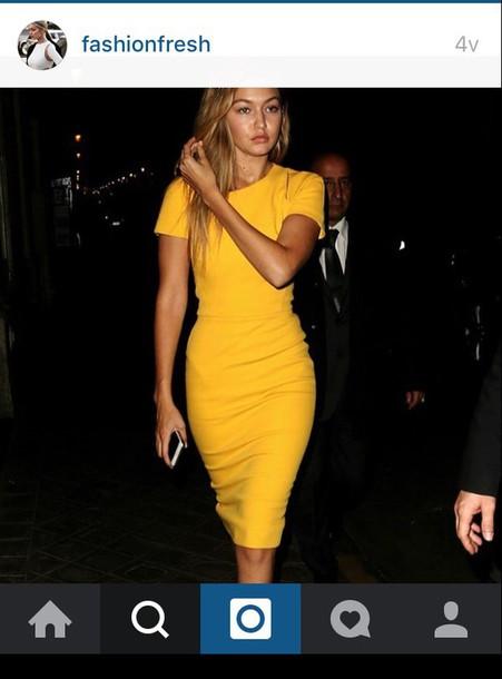 34834ef4d338 dress yellow dress gigi hadid t shirt dress love skinny dress summer tan