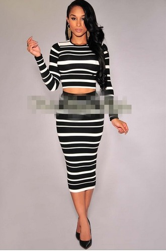 dress striped dress two-piece sleeve outfit