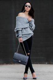 fit fab fun mom,blogger,sweater,jeans,shoes,bag,sunglasses,jewels,off the shoulder sweater,shoulder bag,black jeans,grey heels