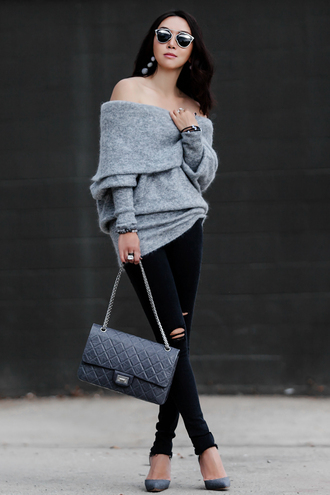fit fab fun mom blogger sweater jeans shoes bag sunglasses jewels off the shoulder sweater shoulder bag black jeans grey heels