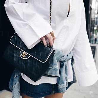bag tumblr black bag chanel chanel bag chain bag white shirt shirt oversized oversized shirt