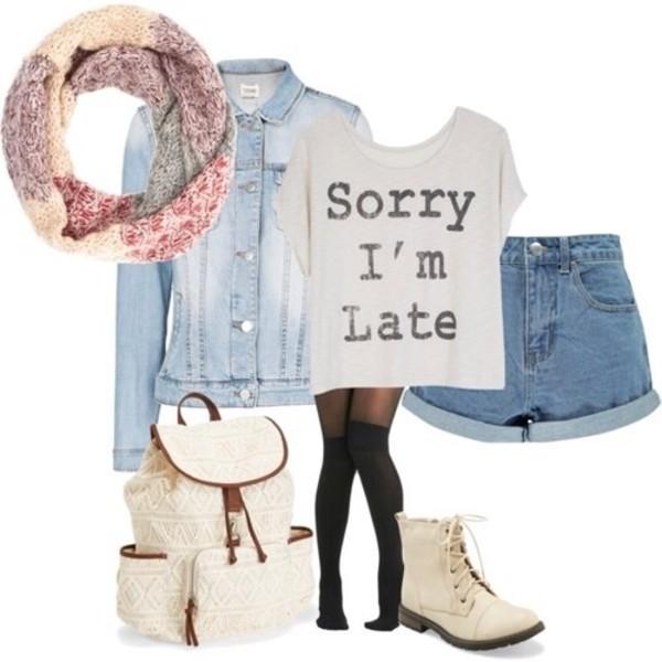 t-shirt sorry i'm late! sorry fashion shoes bag shorts blouse