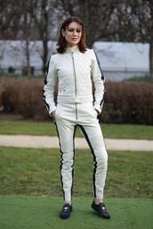 pants,jacket,flats,olga kurylenko,fashion week 2017,fashion week,all white everything