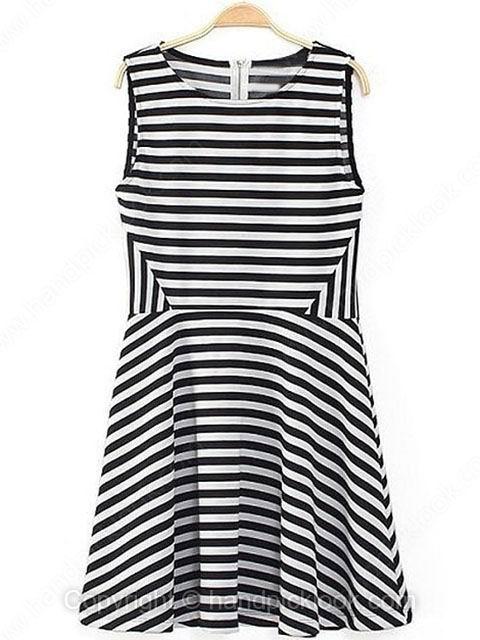 Street Black Sleeveless Striped Dress - HandpickLook.com