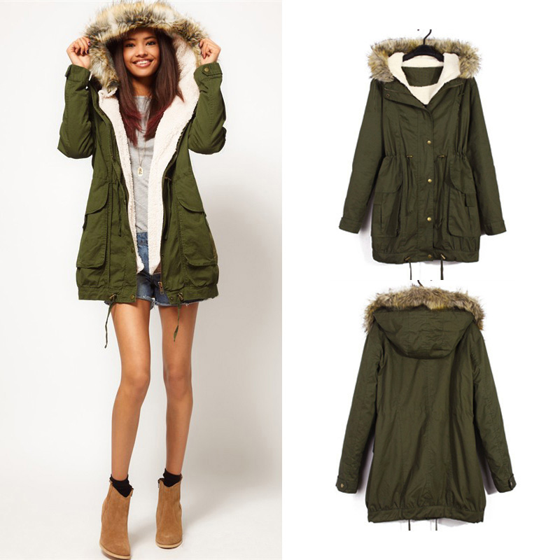 Green Women Winter Hooded Faux Fur Trench Coat Parka Overcoat ...