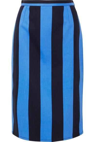 Prada - Striped denim midi skirt