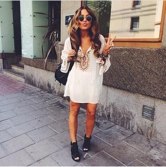 dress white dress white brown dress clothes white and brown shoes hat boho boho chic boho dress loose dress