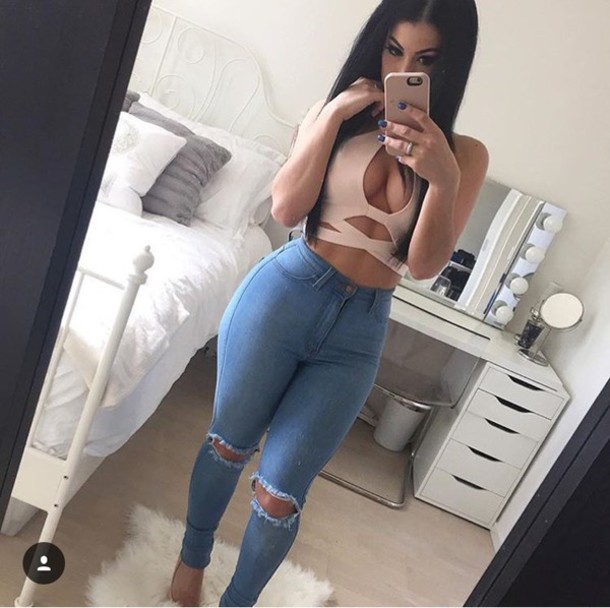 Jeans high waisted jeans crop tops tumblr tumblr outfit trendy gorgeous ripped jeans ...