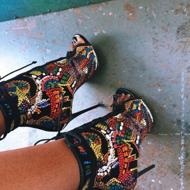 shoes high heels sandal heels multicolor peep toe boots