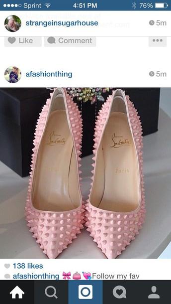 shoes pinky spiky heels pink heels heels pointed toe pumps