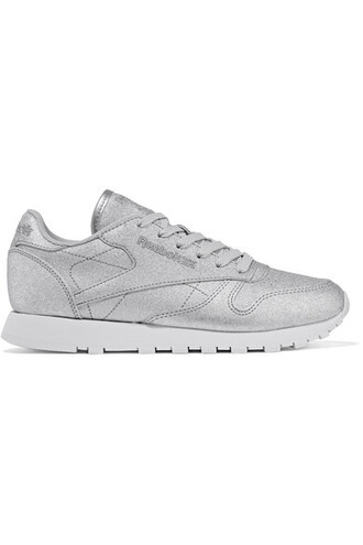 metallic classic sneakers silver leather shoes