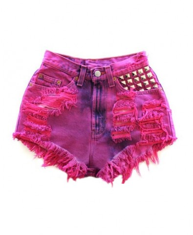 Studded and Distressed Denim Shorts in Ombre Colored Wash